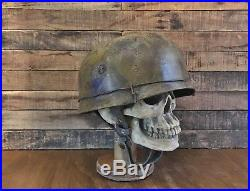 WWII German M38 Fallschirmjager Camo Paratrooper Helmet Weathered & Distressed