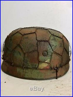 WWII German M38 Fallschirmjager Half Basket Camo Paratrooper Helmet