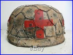 WWII German M38 Fallschirmjager Medic Winter Chickenwire Paratrooper Helmet