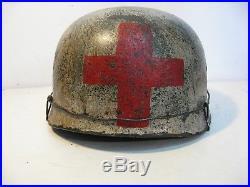 WWII German M38 Fallschirmjager Winter Medic Normandy Paratrooper Helmet