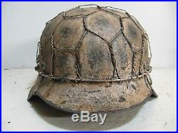 WWII German M42 Chicken wire Half basket Winter Camo Helmet