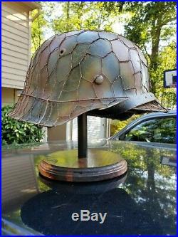 WWII German M42 Helmet Normandy Camo & Wire Repro + Helmet Display Stand