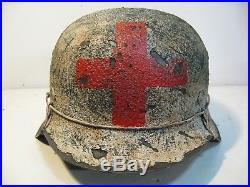 WWII German M42 Winter Camo Medic Helmet