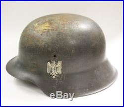 WWII German Military Helmet with Original Liner & Chin Strap Heer Adler Decal