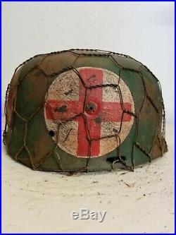 WWII German RARE M37 Fallschirmjager Chickenwire Medic Paratrooper Helmet