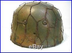 WWII German RARE M37 Fallschirmjager Chickenwire Normandy Paratrooper Helmet