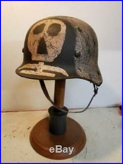 WWII German issued M35 Finnish Army Hand Painted and aged Camo Helmet