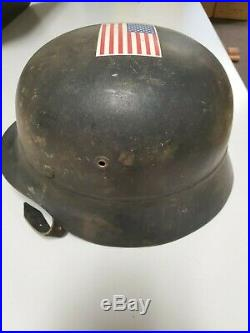 WWII Luftwaffe German M35 Helmet with Liner and chin strap Nice Shape
