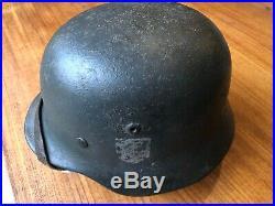 World War Two German M35 Helmet Marked NS64 Sawdust Camouflage