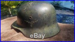 Ww2 German Helmet Rare Authentic War Time Camo