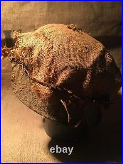 Ww2 German Helmet With Helmet Hessian Cover And Barb Wire