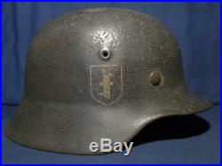 Ww2 German M-40 sd volunteer helmet. Dutch. With liner