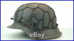 Ww2 German M-42 Helmet, With Half Wire Basket Net