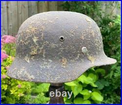 Ww2 German M35 Steel Helmet Semi Relic + Liner Band & Rivets. From France