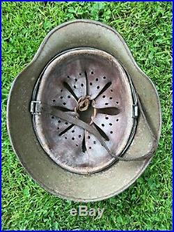 Ww2 German M40 Steel Helmet With Liner + 1941 Dated Strap, Double Decal Norwegian