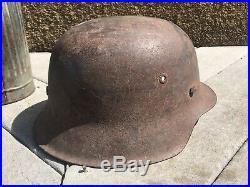 Ww2 German M42 Helmet Shell With Liner Band Original Decal Single Heer