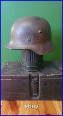 Ww2 German Original M40 Helmet (soft Leather)