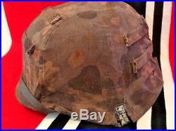 Ww2 German Reversible Camouflaged Helmet Cover For Elite Units. Rare. Orig