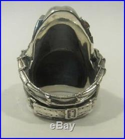 Ww2 German Soldier In Helmet Huge Heavy Handmade Sterling Silver Skull Mens Ring