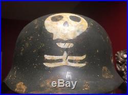 Ww2 German Ss Suomi Freiwilligen Division Helmet With Original Trench Art Skull