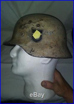 Ww2 German Winter Helmet Early Post War Camo Display Rare