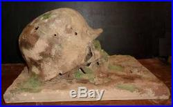 Ww2 Relic Life Size German Ss Soldier Human Skull With Helmet & Iron Cross