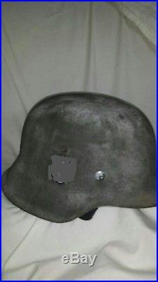 Ww2 original M42 German Helmet ET 68 lot 1915 refurbished « Wwii