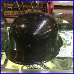 Wwii German Halftrack Factory Worker Helmet W Liner Decal Krauss Maffei