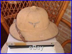 Wwii German Luftwaffe Dak Afrika Korps Tropical Pith Helmet Hat, Original