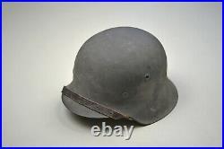 Wwii German M1942 Combat Helmet Complete & Near Mint