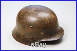Wwii German M35 Camouflaged Helmet Complete