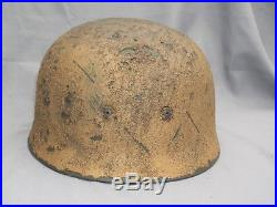 Wwii German M38 Fallschirmjager Paratrooper Helmet Afrika Korps Sand Camouflage