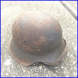 Wwii German M42 Combat Helmet W Chinstrap Good Shape No Decals