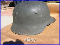 Wwii Real German Combat Helmet M42 Ckl68 Vet From Battle Of Bulge